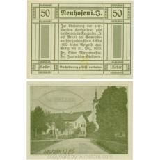 Neuhofen im Innkreis, S0652IIIc21, 50 Heller, bei Heller ll engstehend, Schein Nr. 21, Aufdruck B in silber; 1 VN100361